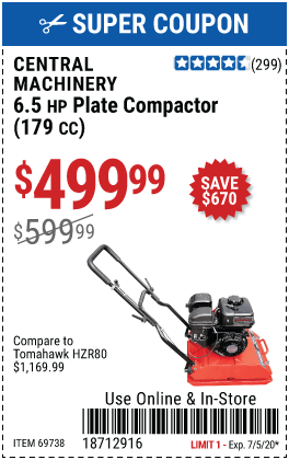 6.5 HP Plate Compactor