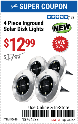 Inground Solar Disk Lights, 4 Pc.