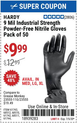 9 mil Nitrile Powder-Free Gloves Medium, 50 Pc.