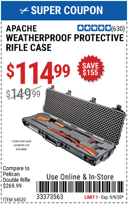 9800 Weatherproof Protective Rifle Case - Long Black