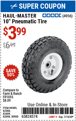 10 in. Pneumatic Tire with White Hub