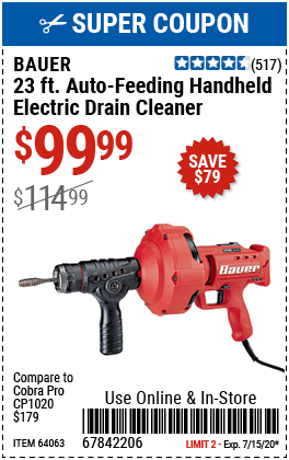 23 Ft. Auto-Feed Handheld Electric Drain Cleaner