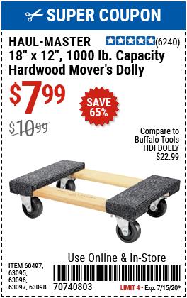 18 In. x 12 In. 1000 lb. Capacity Hardwood Dolly