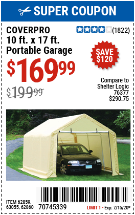 COVERPRO 10 Ft. X 17 Ft. Portable Garage for $169.99 ...