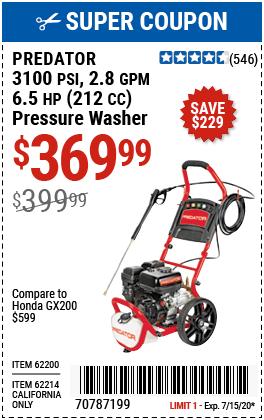 3100 PSI, 2.8 GPM, 6.5 HP (212cc) Pressure Washer EPA III