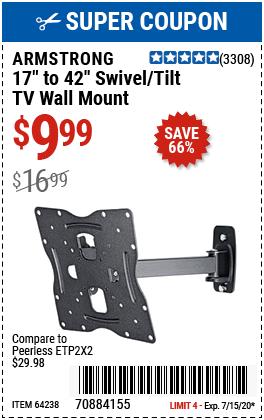 17 in. to 42 in. Swivel/Tilt TV Wall Mount - Small TV