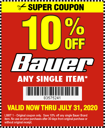 Take 10 Off Any Single Bauer Item Through 7 31 20 Harbor Freight Coupons