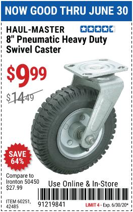 8 in. Pneumatic Heavy Duty Swivel Caster