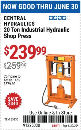 20 ton Industrial Hydraulic Shop Press