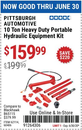 10 Ton Super Heavy Duty Portable Hydraulic Equipment Kit