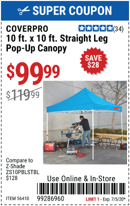 10 ft. x 10 ft.  Heavy Duty Straight Leg Pop-Up Canopy
