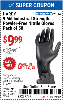 9 mil Nitrile Powder-Free Gloves Medium, 50 Pc.