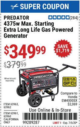 4375 Watt Max Starting Extra Long Life Gas Powered Generator - CARB