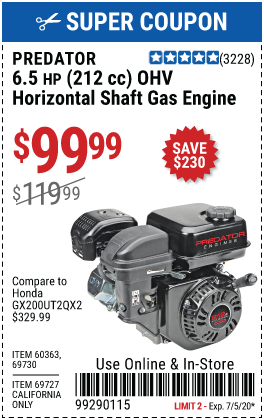 6.5 HP (212cc) OHV Horizontal Shaft Gas Engine EPA/CARB