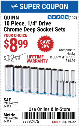 1/4 in. Drive SAE Chrome Deep Socket, 10 Pc.