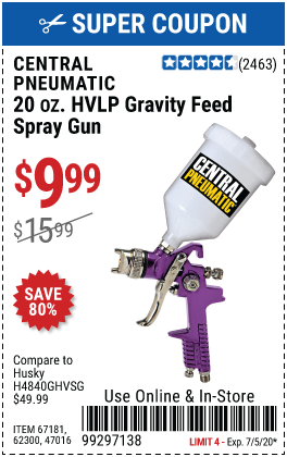 20 oz. HVLP Gravity Feed Air Spray Gun