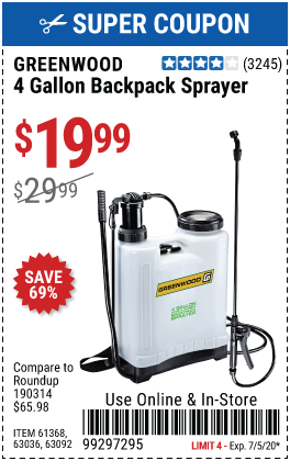 4 gallon Backpack Sprayer