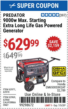 9000 Watt Max Starting Extra Long Life Gas Powered Generator - CARB