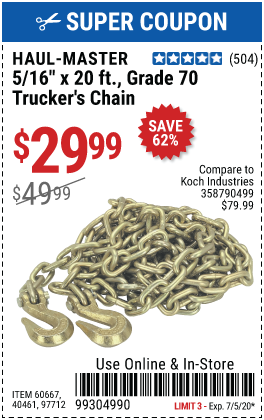 5/16 in. x 20 ft. Grade 70 Trucker's Chain