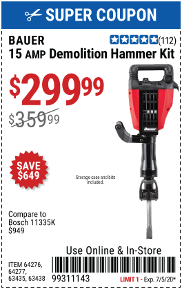 15 Amp 35 lb. Pro Demolition Hammer Kit