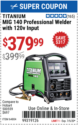 MIG 140 Professional Welder with 120 Volt Input