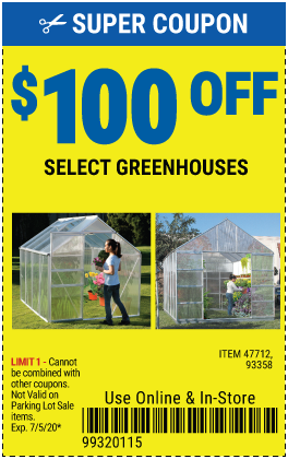 $100 off Select Greenhouse (2 skus only)