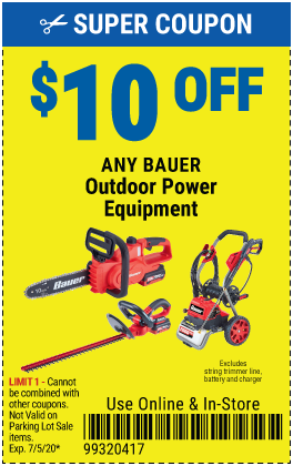 $10 off Bauer Outdoor Power Equip (6skus)