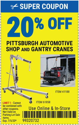 20% off Gantry/Shop Cranes (3 skus)