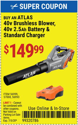 Atlas buy 40v Blower  Battery & Charger for 149.99