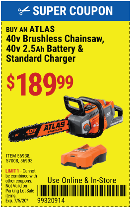 Atlas buy 40v Chainsaw  Battery & Charger @189.99