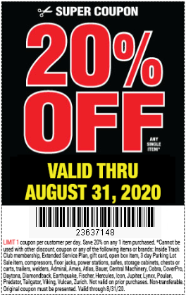 20% Off Any Single Item at Harbor Freight through August 31, 2020