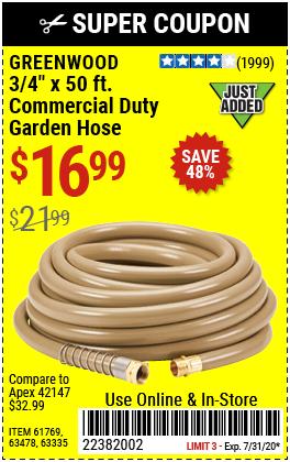 3/4 in. x 50 ft. Commercial Duty Garden Hose