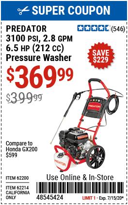 3100 PSI, 2.8 GPM~ 6.5 HP (212cc) Pressure Washer EPA III