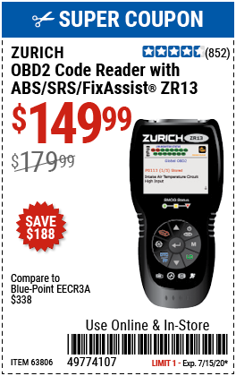 ZR13 OBD2 Code Reader with ABS/SRS/FixAssist®