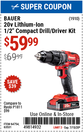 20V Hypermax Lithium-Ion Cordless 1/2 in. Drill/Driver Kit with 1.5 Ah Battery, Rapid Charger~ and Bag