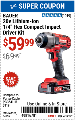 20V Hypermax Lithium-Ion Cordless 1/4 in. Hex Compact Impact Driver Kit with 1.5 Ah Battery, Rapid Charger~ and Bag