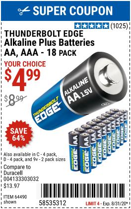 AAA Alkaline Batteries, 18 Pk.