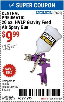 20 oz. HVLP Gravity Feed Air Spray Gun
