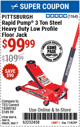 3 Ton Low Profile Rapid Pump® Floor Jack