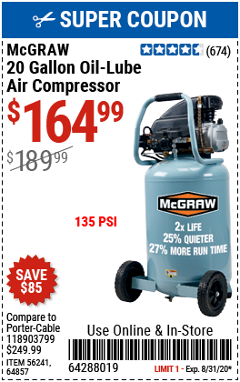 20 gallon 1.6 HP 135 PSI Oil Lube Vertical Air Compressor