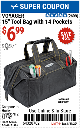 15 in. Tool Bag with 14 Pockets