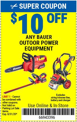 $10 off Bauer Outdoor Power Equip (6skus)