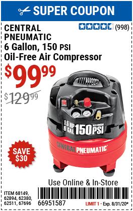 6 gallon 1.5 HP 150 PSI Professional Air Compressor