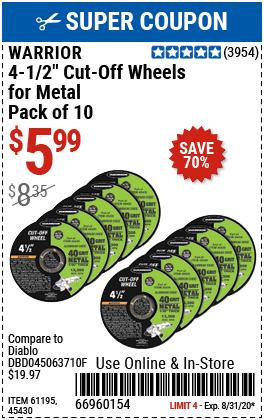 4-1/2 in. 40 Grit Metal Cut-off Wheel 10 Pk.