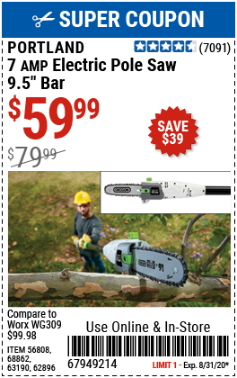9.5 In. 7 Amp Corded Electric Pole Saw