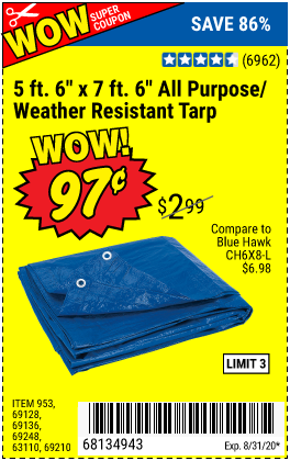 Hft 5 Ft 6 In X 7 Ft 6 In Blue All Purpose Weather Resistant Tarp For 0 97 Harbor Freight Coupons