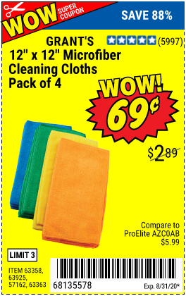 Microfiber Cleaning Cloth 12 in. x 12 in., 4 Pk.