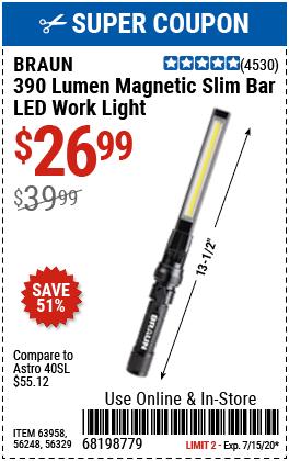 390 Lumen Magnetic Slim Bar Folding LED Work Light