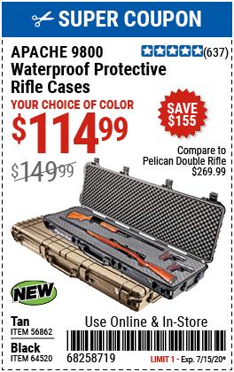 9800 Weatherproof Protective Rifle Case - Long Tan