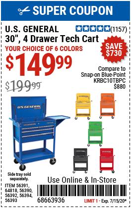 30 in. 4 Drawer Black Tech Cart